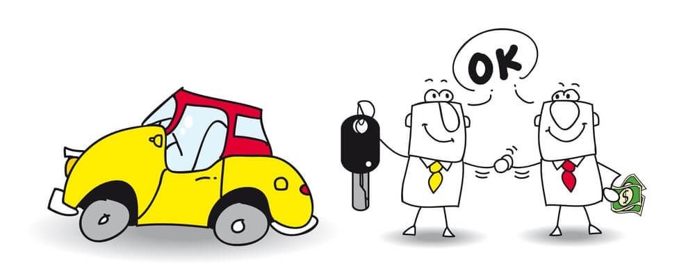 Two Cartoon Figures finishing a deal to sell a yellow car