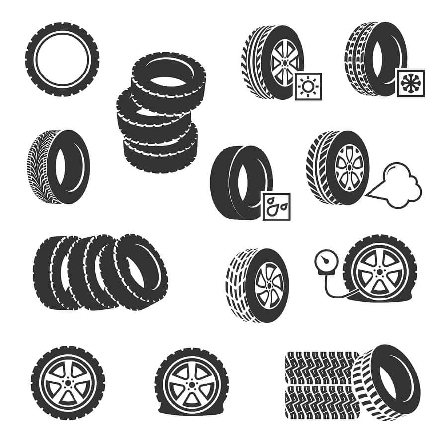 A collection of tyres